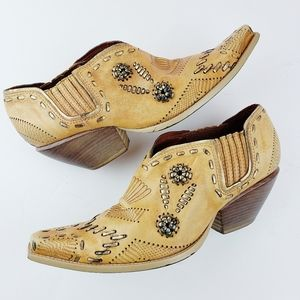 BCBGirls Western Boho Leather Ankle Boots